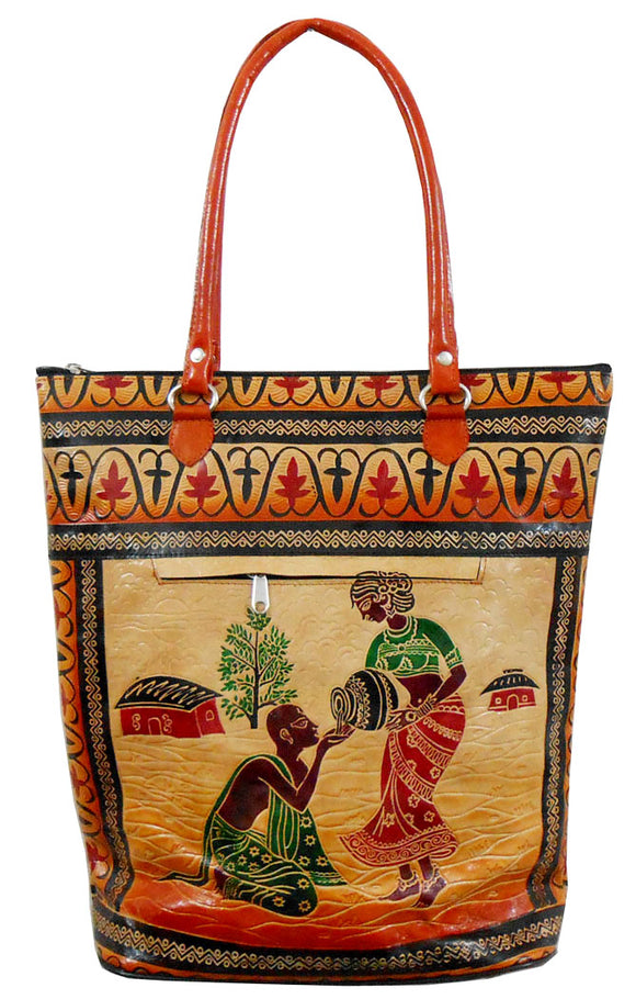 Lady serving Water to a Thirsty Brahmin 100% Pure Shantiniketan Leather Indian Shopping Bag