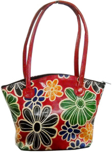 Colorful Blooming Flowers Red Colored 100% Pure Shantiniketan Leather Bag