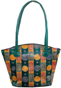 Colorful Handmade 100% Pure Shantiniketan Leather Indian Hand Bag