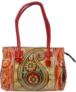 Paisley Batik Design Genuine 100% Pure Leather Shantiniketan Shoulder Bag Indian Tote