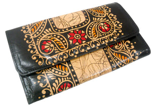 Batik Design Colorful Genuine 100% Pure Leather Shantiniketan Clutch hand Purse