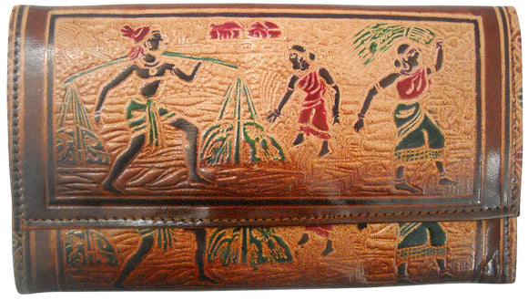 Shantiniketan Leather ladies Wallet depicting Indian Farmers