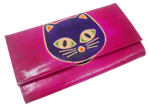 Colorful Cat Design Genuine 100% Pure leather Embossed Shantiniketan Hand Purse