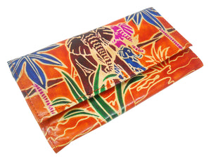 Jungle Elephants Design Genuine 100% Pure leather Embossed Handmade Colorful Shantiniketan Hand Purse