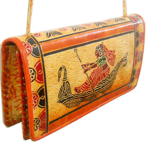 Village lady sailing a Peacock design Boat Indian 100% Pure Shantiniketan Leather Sling Shoulder Bag
