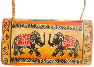 Twin Royal Elephants design 100% Pure Shantiniketan Leather Sling Shoulder Bag