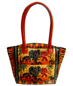 Colorful Jungle Elephants Design Ethnic Hand Embossed 100% Pure Shantiniketan Leather Indian Hand Bag