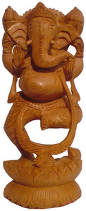 Crafts of India : Dancing Ganesha Wooden Statue