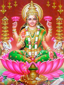 Goddess lakshmi : goddess of wealth poster-reprint on paper-(20x16 inches)