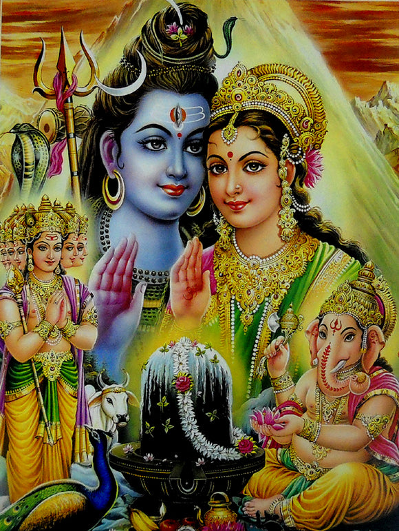 Ganesha and kartikeya worshipping their parents shiva parvati poster-reprint ...