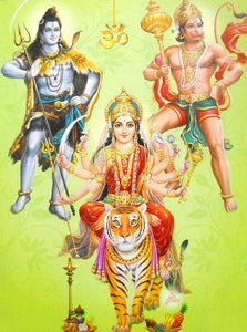 Goddess Durga and Hindu Gods poster-reprint on paper-(20x16 inches)