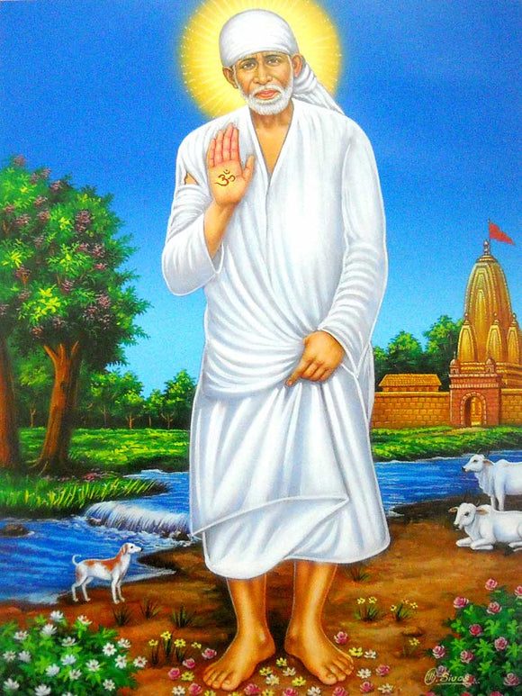 India Crafts Standing Sai Baba Poster-Reprint on Paper-(20x16 inches)