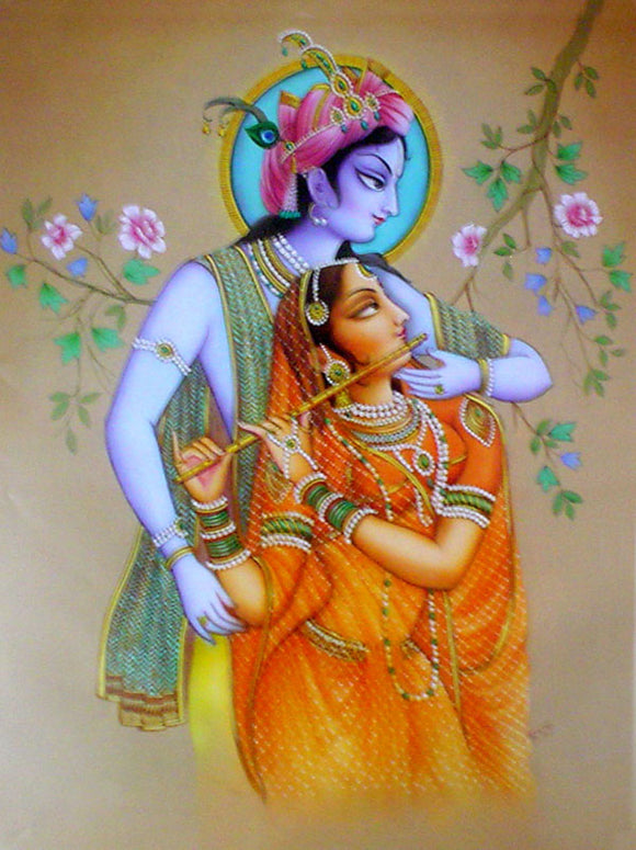 Divine loves : radha krishna poster-reprint on paper-(20x16 inches)