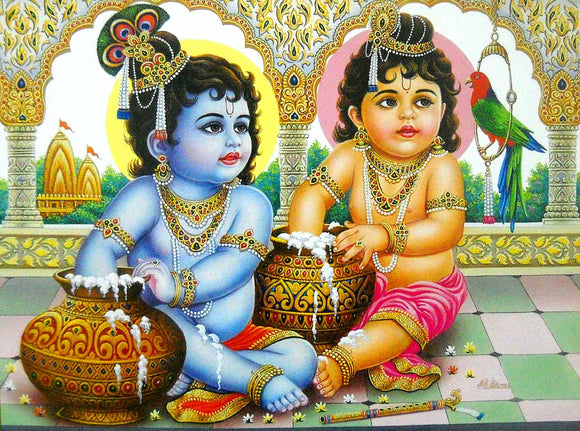 Makhan Chor Krishna poster-reprint on paper-(20x16 inches)