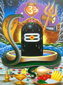 India Crafts Snake Protecting Shiva Lingam Poster-Reprint on Paper-(20x16 inches)