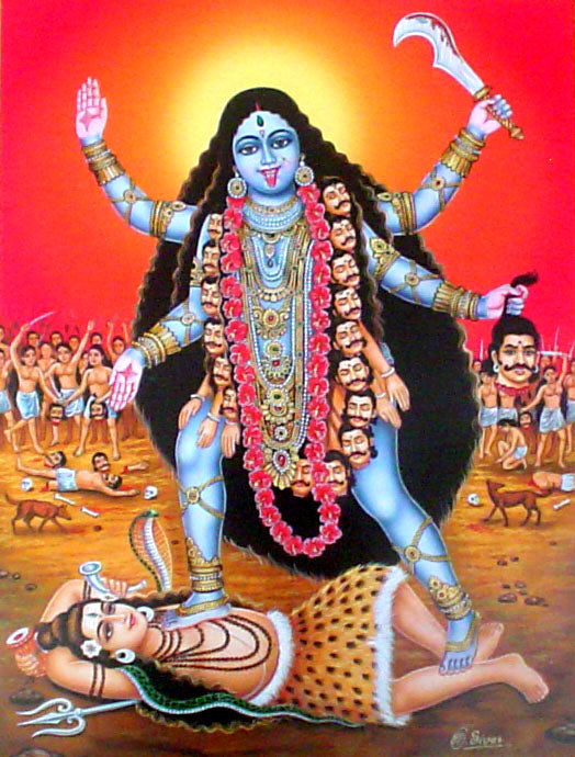 Goddess Kali poster-reprint on paper-(20x16 inches)