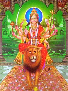 Goddess durga on her vehicle lion poster-reprint on paper-(20x16 inches)