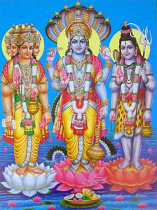 India Crafts The Trio : Brahma, Vishnu, Mahesh Poster-Reprint on Paper-(20x16 inches)