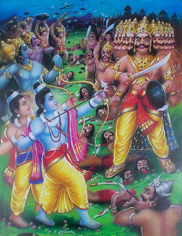 Ram and lakshmana fighting ravana poster-reprint on paper-(20x16 inches)