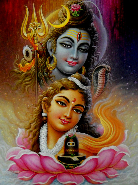 Lord shiva parvati poster-reprint on paper-(20x16 inches)