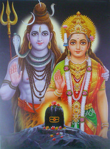 Blessing shiva parvati poster-reprint on paper-(20x16 inches)