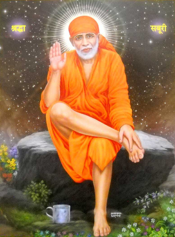 Blessing Sai Baba poster-reprint on paper-(20x16 inches)