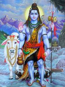 India Crafts Lord Shiva with his Vehicle Nandi Cow Poster-Reprint on Paper-(20x16 inches)