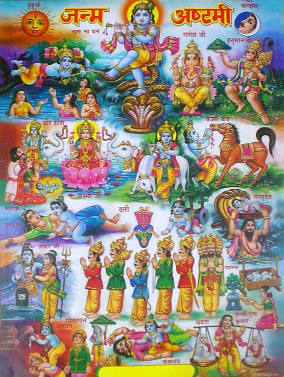 Hindu gods poster-reprint on paper-(20x16 inches)