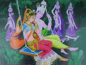 India Crafts Radha Krishna on Swing Poster-Reprint on Paper-(20x16 inches)