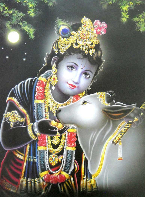 Bal Krishna with Cow poster-reprint on paper-(20x16 inches)