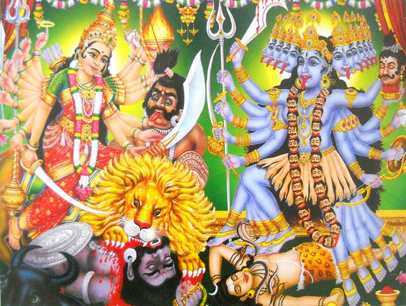 India Crafts Goddess Durga and Goddess Kali Poster-Reprint on Paper-(20x16 inches)