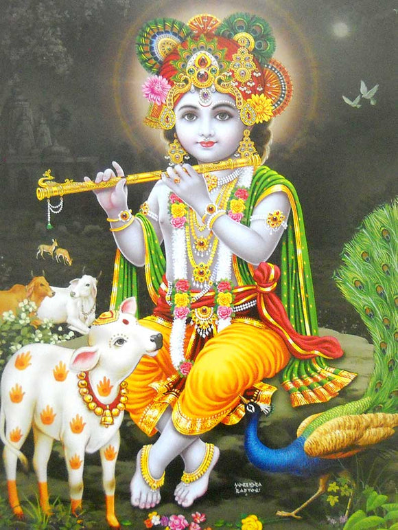 Murlidhar Krishna poster-reprint on paper-(20x16 inches)