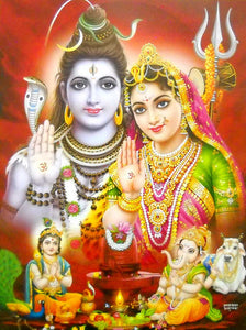 India Crafts Lord Shiva Family Poster-Reprint on Paper-(20x16 inches)