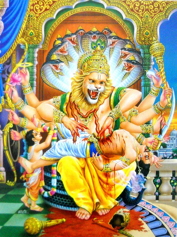 India Crafts Narsimha Killed The Hirnakshyap Poster-Reprint on Paper-(20x16 inches)