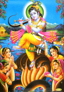 "Lord Krishna dancing on Serpent Kalia/ Hindu God Big Poster -reprint on paper (Unframed : Size 21""X31"" Inches)"