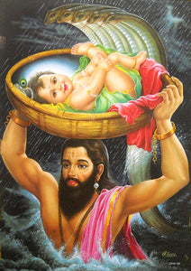 "Vasudev carrying new born Bal krishna away from kansa Lock Up/ Hindu God Large Poster -reprint on paper (Unframed : Size 21""X31"" Inches)"