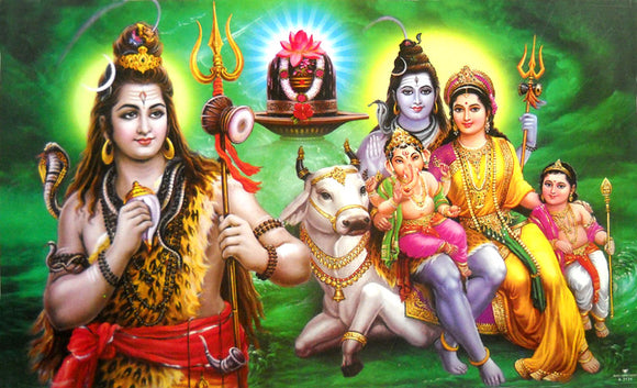 Lord Shiva Family/ Hindu God Big Poster -reprint on paper (Unframed : Size 21