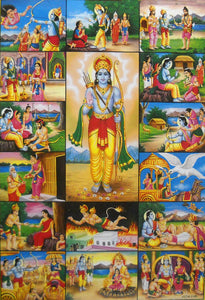 "Main Events during Lord Rama 14 years Exile in Forests/ Hindu God Large Poster -reprint on paper (Unframed : Size 21""X31"" Inches)"