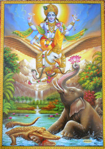 "Lord Vishnu on his Vehicle Garuda The Savior/Hindu God Big Poster -Reprint on Paper (Unframed : Size 21""X31"" Inches)"