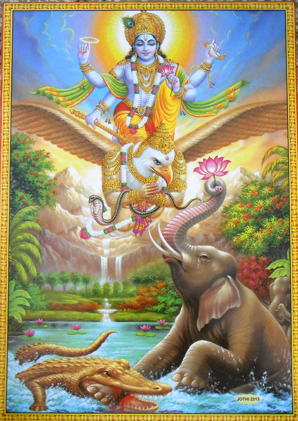 Lord Vishnu on his Vehicle Garuda The Savior/Hindu God Big Poster -Reprint on Paper (Unframed : Size 21