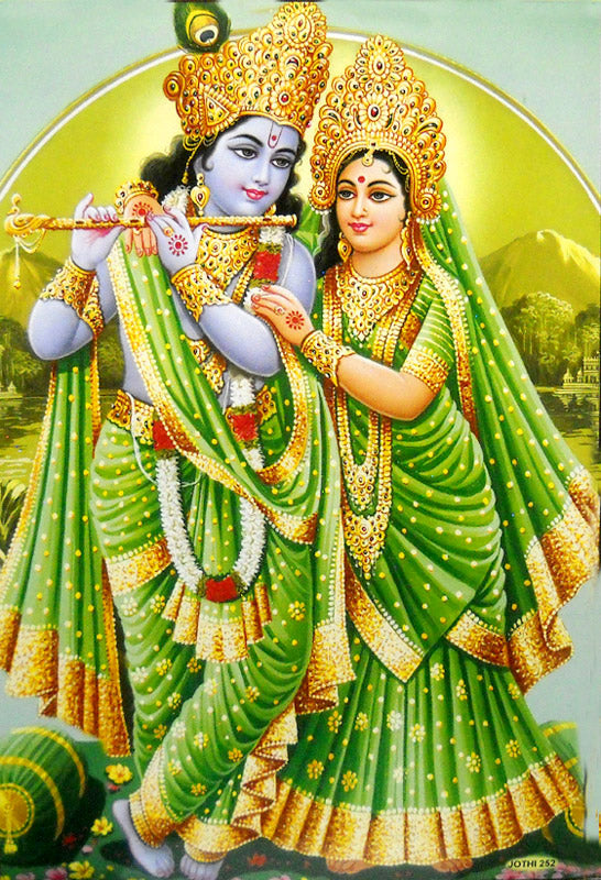 Divine Lovers: Radha Krishna/ Hindu God Large Poster -reprint on paper (Unframed : Size 21