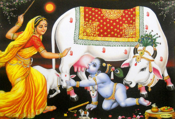 Yashodha scolding Naughty Bal krishna/ Hindu God Large Poster -reprint on paper (Unframed : Size 21