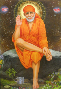 "Blessing Sai Baba/ Hindu God Big Poster -reprint on paper (Unframed : Size 21""X31"" Inches)"
