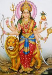 "Brave Goddess Durga/ Hindu Goddess Large Poster -reprint on paper (Unframed : Size 21""X31"" Inches)"