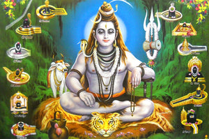"Twelve Jyotirlinga of Lord Shiva/ Hindu God Big Poster -reprint on paper (Unframed : Size 21""X31"" Inches)"