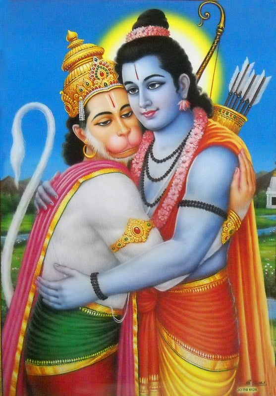 Lord Rama Hugging Lord Hanuman/Hindu God Large Poster -Reprint on Paper (Unframed : Size 21