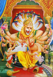 "Lord Narasimha Killing Hiranyakashyap/Hindu God Big Poster -Reprint on Paper (Unframed : Size 21""X31"" Inches)"
