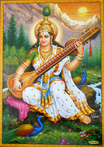"Goddess Saraswati/ Hindu Goddess Large Poster -reprint on paper (Unframed : Size 21""X31"" Inches)"