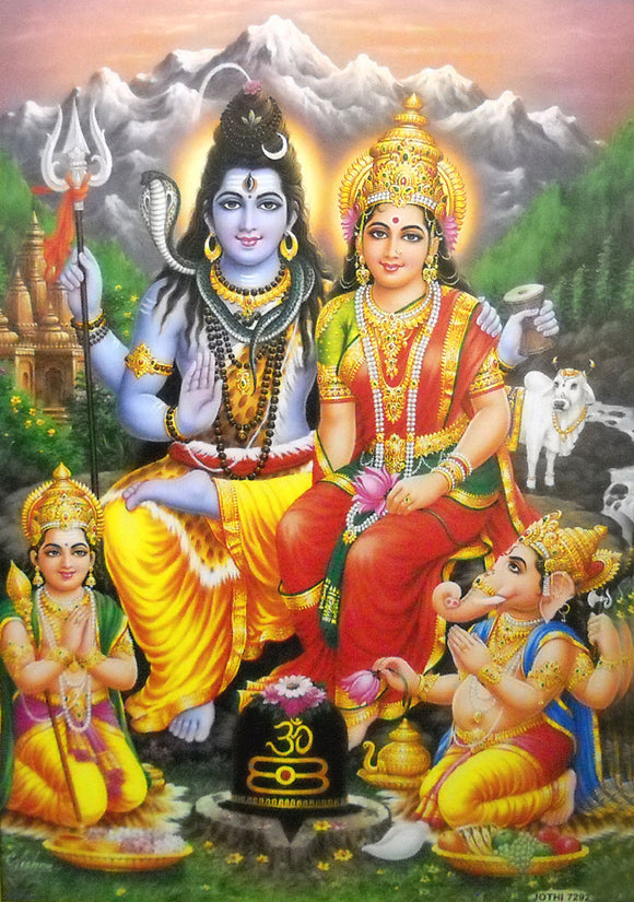Lord Shiva Family/Hindu God Poster -Reprint on Paper (Unframed : Size 21