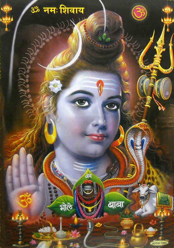 Blessing Lord Shiva/ Hindu God Big Poster -reprint on paper (Unframed : Size 21